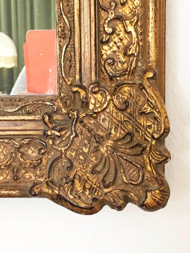 Austrian Early 20th Century Baroque Style, Century Style Giltwood Carved Mirror For Sale