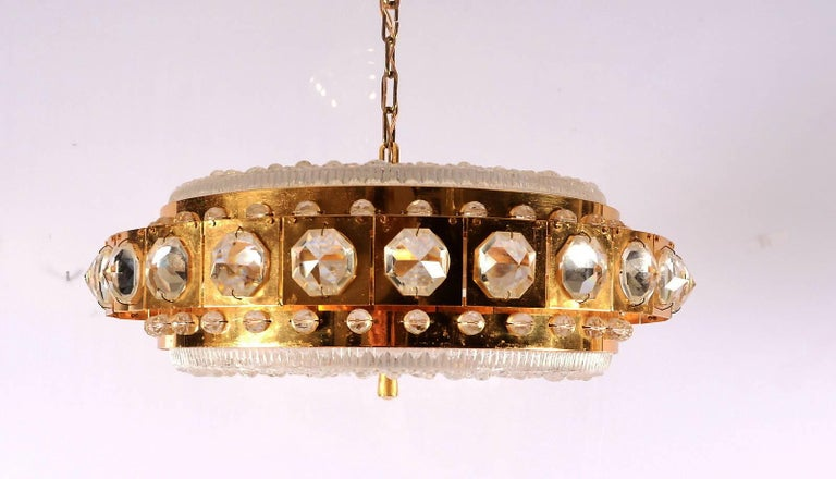 Scandinavian Modern Carl Fagerlund for Orrefors Chandelier For Sale