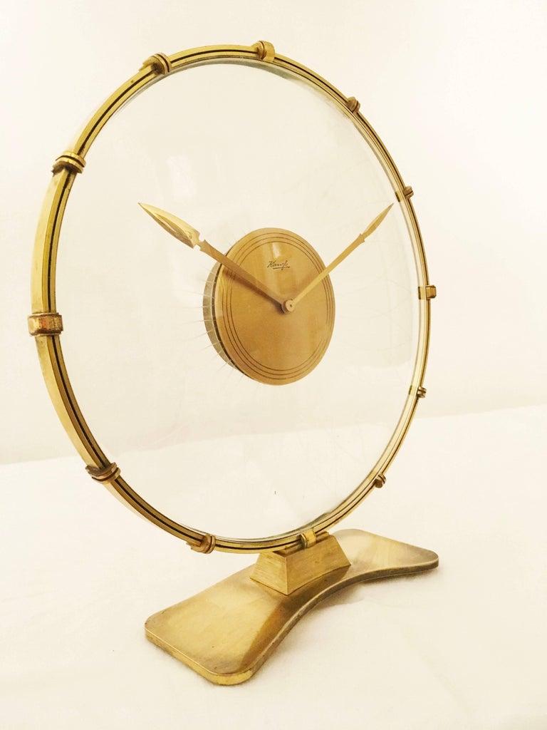 Brass Art Deco Table Clock by Heinrich Möller for Kienzle For Sale