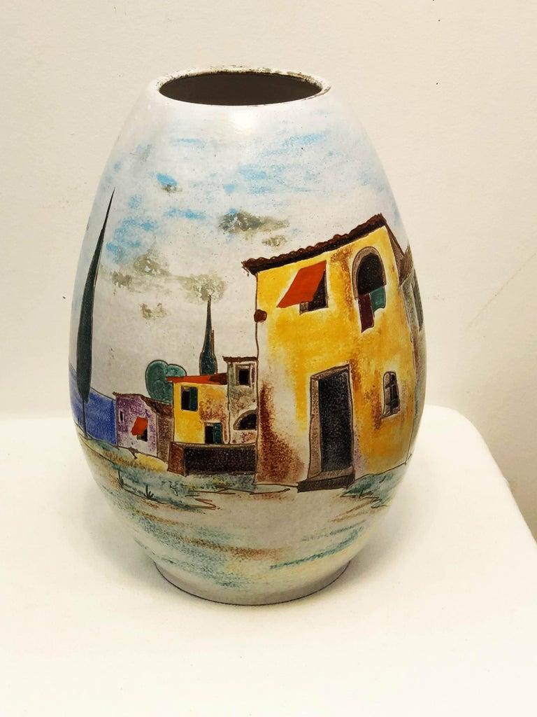 Large Italian Ceramic Floor Vase From The 1960s