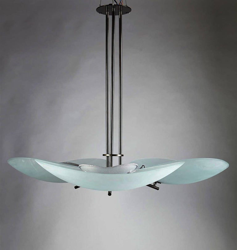 Lacquered steel and matt glass. Designed by Ernesto Gismondi for Artemide in the early 1980s. Measures: H 79 cm/ 31'' D 90 cm/ 35 1/2'' Two pieces available.