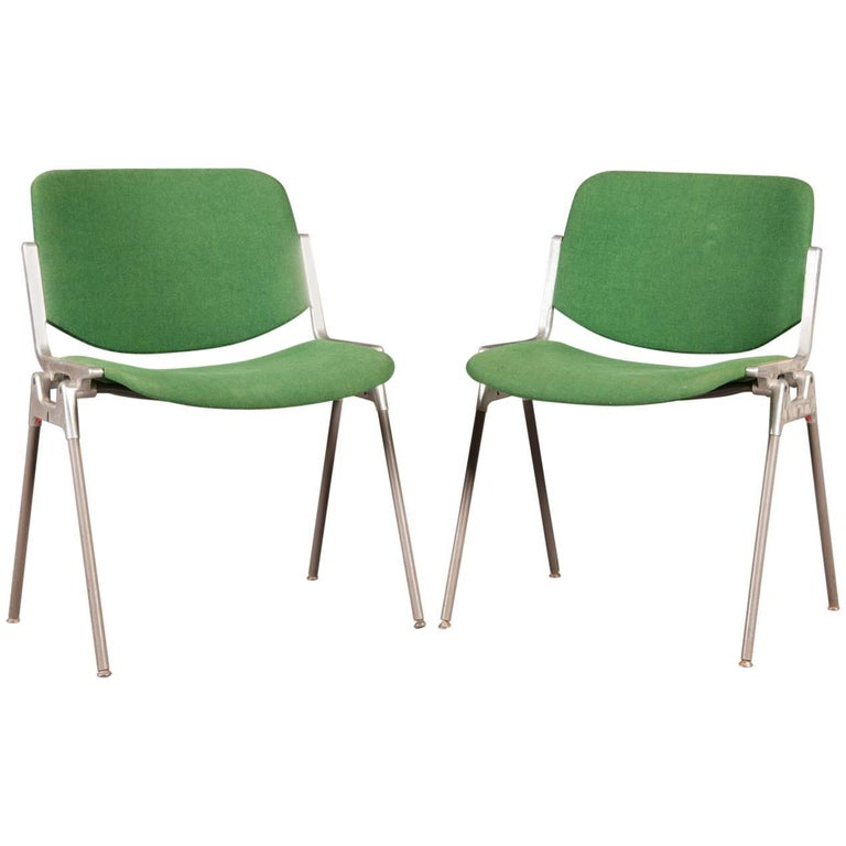 Green Stackable Chairs by Giancarlo Piretti for Castelli For Sale