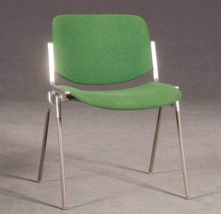 Mid-Century Modern Green Stackable Chairs by Giancarlo Piretti for Castelli For Sale