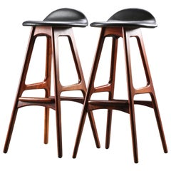 Leather Bar Stools by Erik Buch