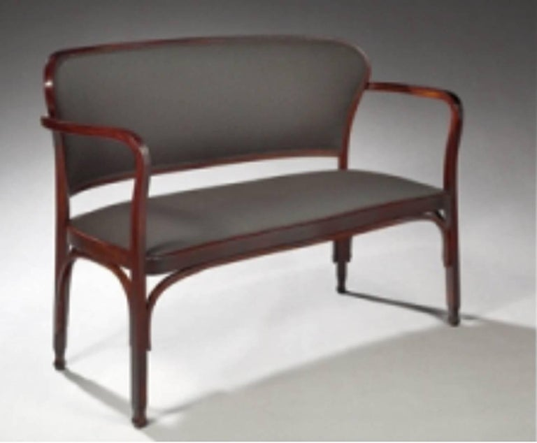 Vienna Secession J. J. Kohn 717 Settee by Gustav Siegel For Sale 1