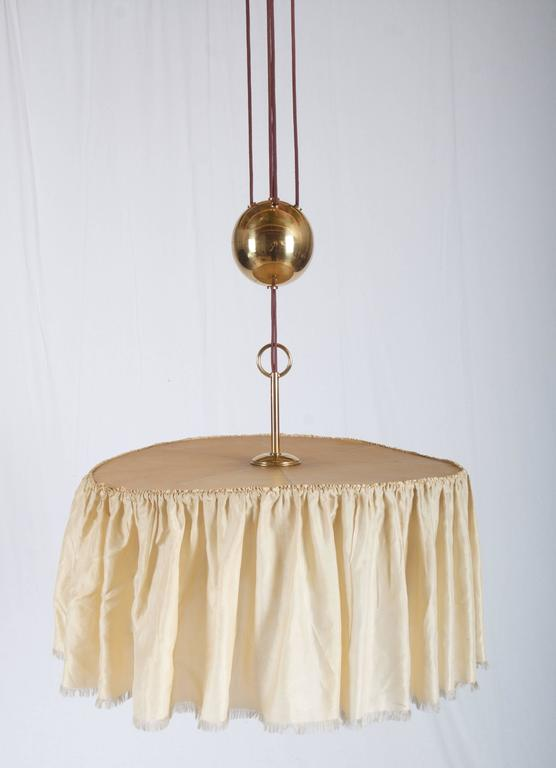 Vienna Secession Adjustable Brass Lamp, Attributed To Adolf Loos For Sale