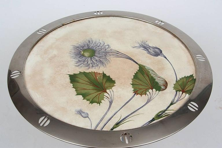 Large Art Nouveau WMF cake stand Germany about 1900 - 1910 Porcelain, Brass silber-plated High: 15cm (5.90in)  Diameter: 35cm (13.77in)