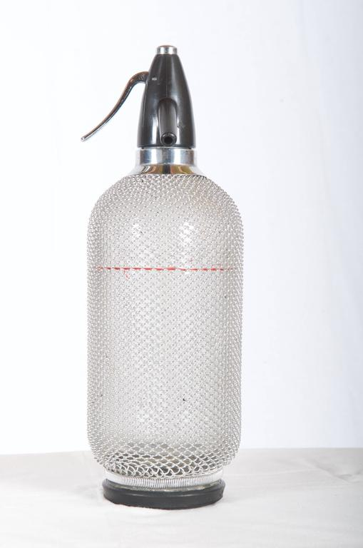 Soda Siphon Seltzer Bottle with Wire Mesh Metal Around Glass For Sale 1