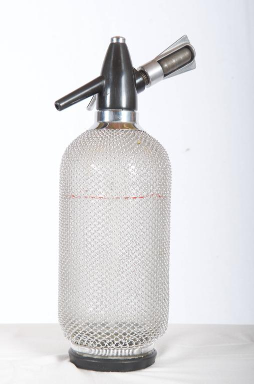 Soda Siphon Seltzer Bottle with Wire Mesh Metal Around Glass For ...