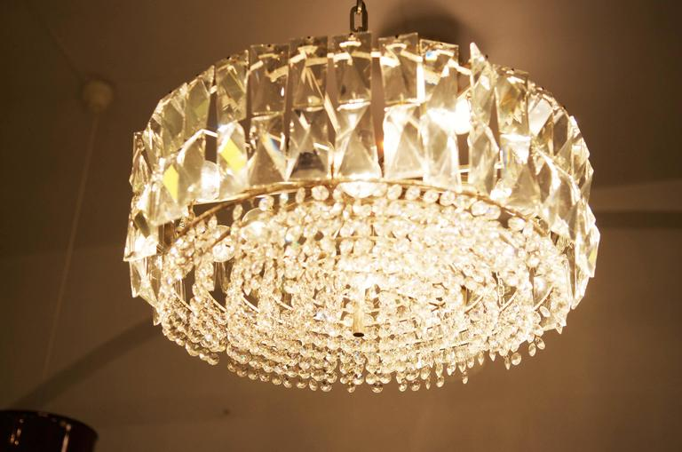 Mid-Century Modern Large Impressive Cut Crystal Chandelier by Bakalowits For Sale