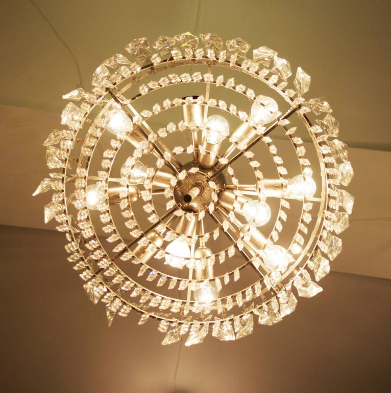 Mid-20th Century Large Impressive Cut Crystal Chandelier by Bakalowits For Sale