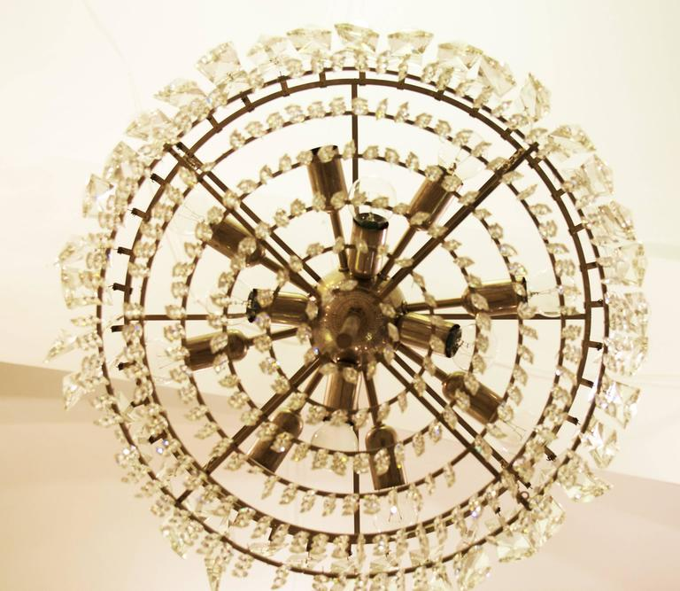 Brass Large Impressive Cut Crystal Chandelier by Bakalowits For Sale