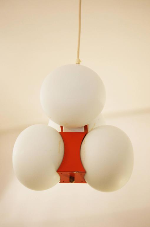 Midcentury Chandelier with Four Satin Opal Glass Globes For Sale 1