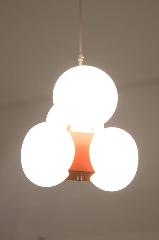 Midcentury Chandelier with Four Satin Opal Glass Globes In Excellent Condition For Sale In Vienna, AT