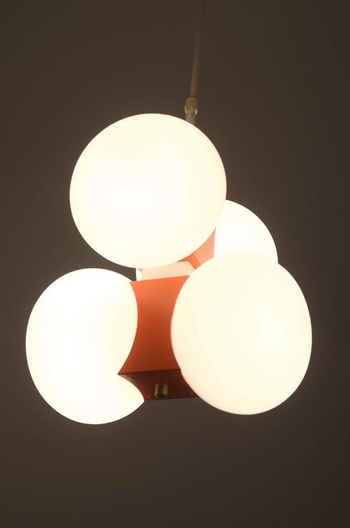 Mid-20th Century Midcentury Chandelier with Four Satin Opal Glass Globes For Sale