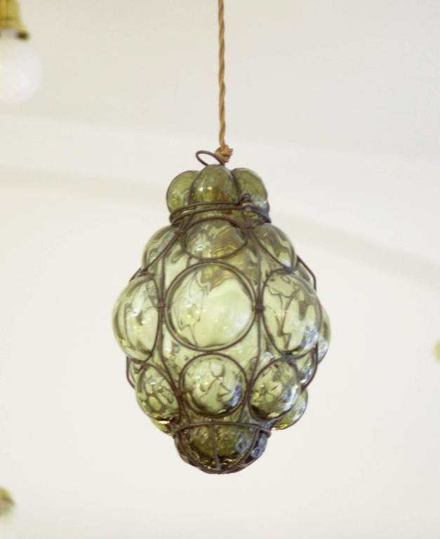 Seguso murano caged glass pendant light at 1stdibs hand blown seguso vetri darte murano caged glass lantern italy from the aloadofball Choice Image
