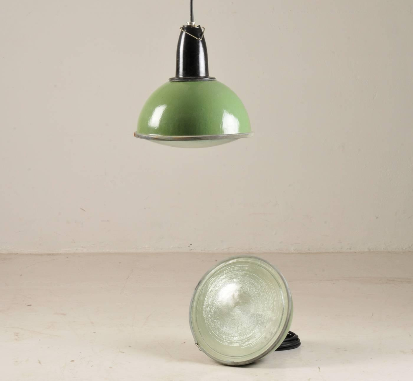green soviet factory industrial pendant lamp at 1stdibs