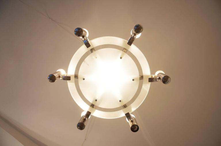 Brass Bauhaus Chandelier from the 1930s For Sale