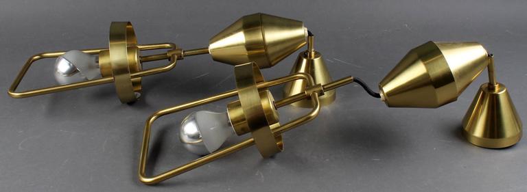 Mid-Century Adjustable Danish Brass Pendant by Lyfa For Sale 1