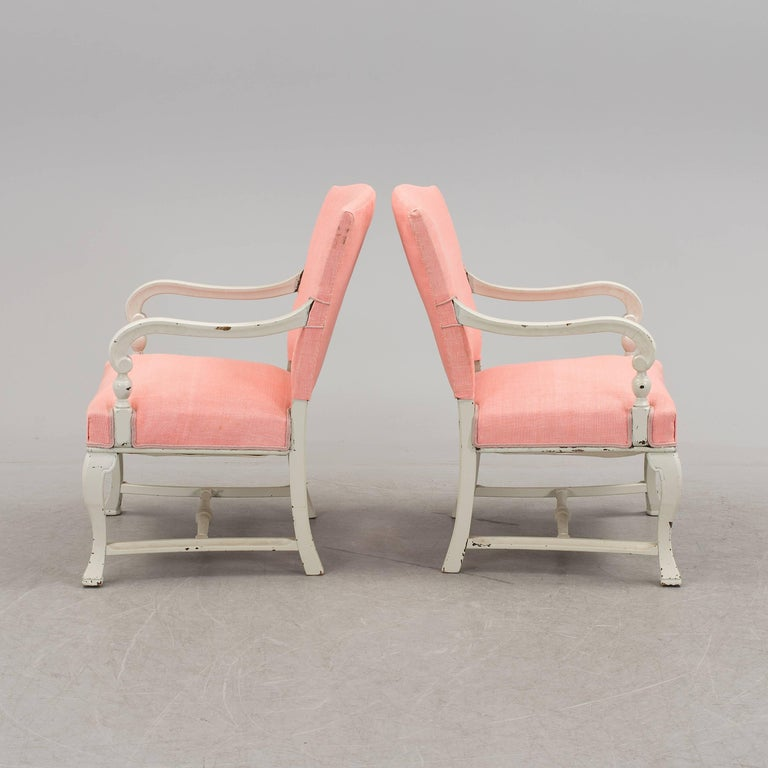 Swedish Pair of White Armchairs For Sale