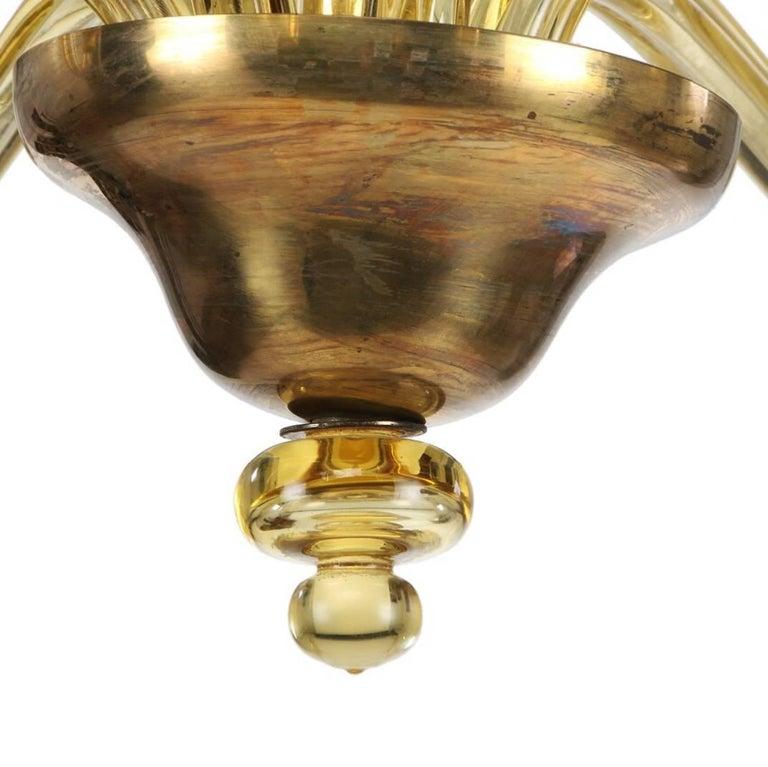 Italian Large Murano Art Deco Amber-Glass Chandelier For Sale