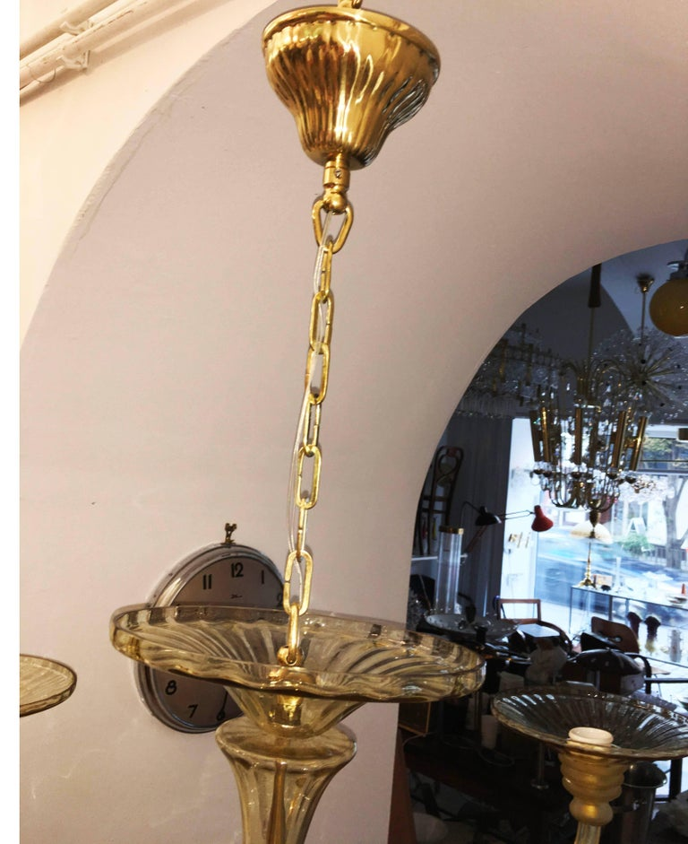 Brass Large Murano Art Deco Amber-Glass Chandelier For Sale