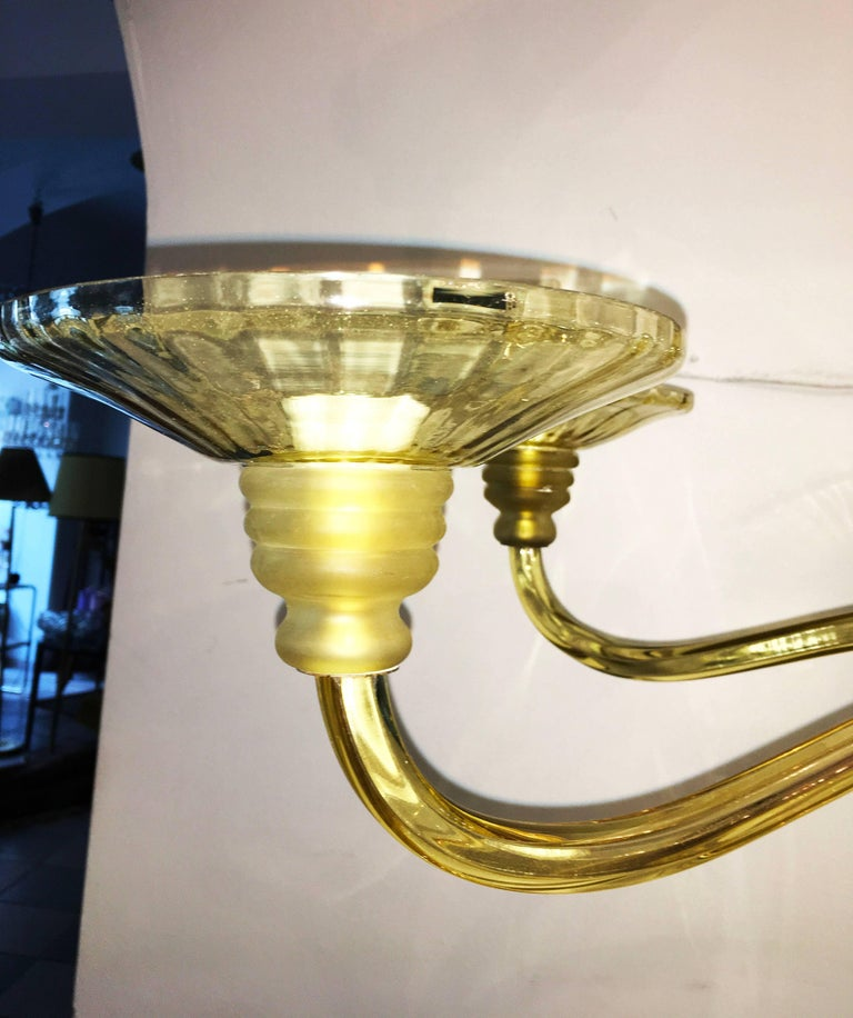 Large Murano Art Deco Amber-Glass Chandelier For Sale 1