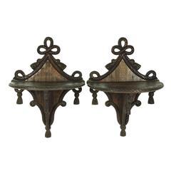 Pair of 19th Century Carved Mahogany Adams Style Wall Brackets