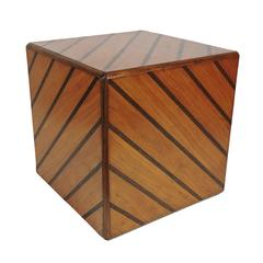Unusual Mid-Century Modern Diagonal Inlay Cube Table