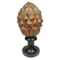 Unusual Folk Art Patinated Metal Pineapple on Painted Marble Stand
