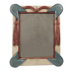 Antique Patriotic Folk Art Paint Decorated Wood Mirror