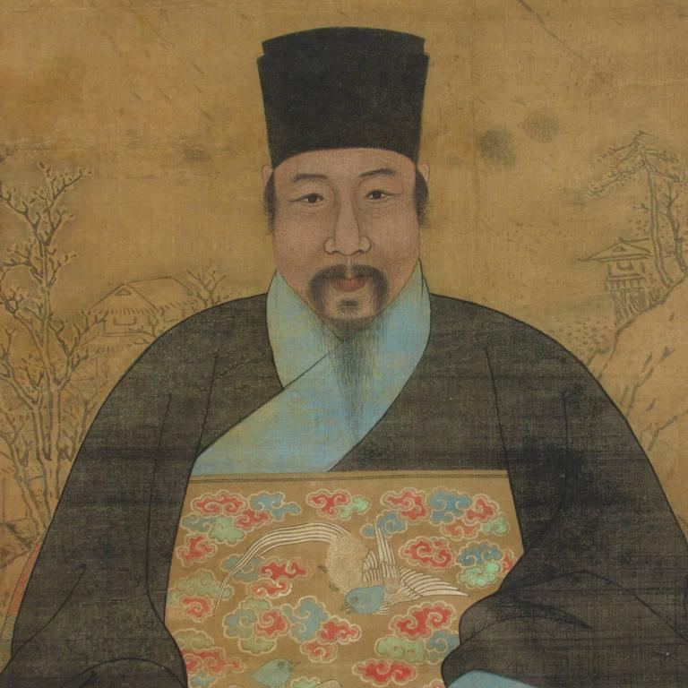 17th Century Chinese Ancestral Portrait On Silk Of A Ming