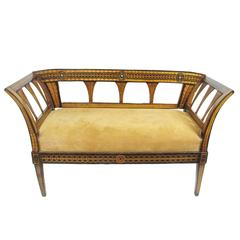 Antique Biedermeier Inlaid and Paint Decorated Fruitwood Settee