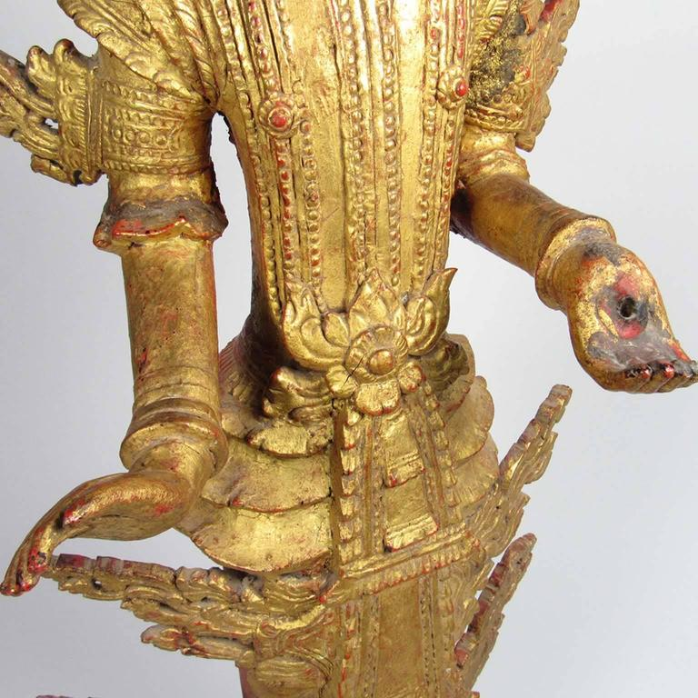 Antique Thai Gilt Wooden Figure of a Standing Buddha For Sale 1