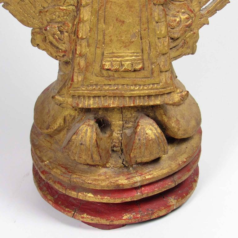 Antique Thai Gilt Wooden Figure of a Standing Buddha For Sale 2