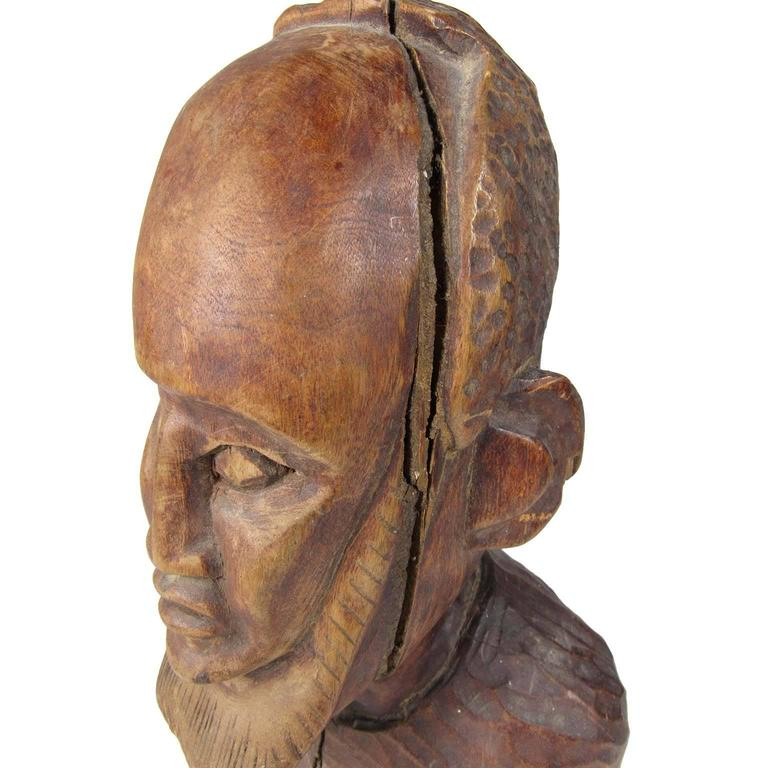 Antique folk art chip carved wood head of a bearded man