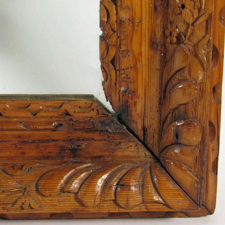 antique rustic english carved pine landscape mirror for 11772 | fn4111 6 l