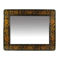Vintage American Black Painted Mirror with Gold Floral Stencil Design