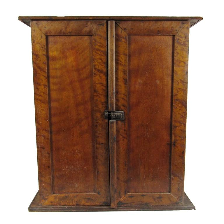 Antique American Country Diminutive Two-Door Pine Jelly Cupboard - American Antique Scrubbed Pine Jelly Cupboard Cabinet, Pennsylvania