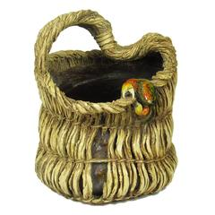 Rare Japanese Meiji Sasaki Niroku Ceramic Farm Basket with Crab Vase