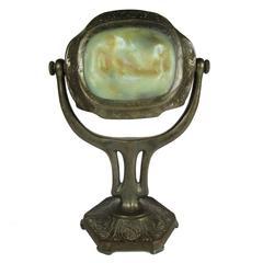Antique Tiffany Turtle Back Tile Bronze Zodiac Desk Lamp