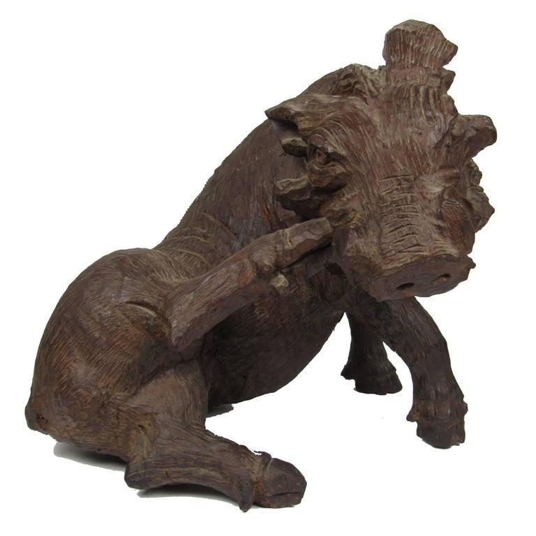 Antique Large Black Forest Carved Wood Boar For Sale At