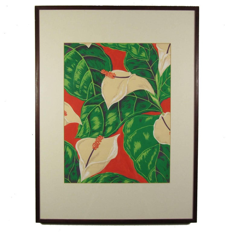 Large American School Calla Lilly Watercolor and Gouache Textile Design