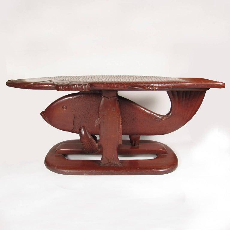 Vintage folk art carved wood fish form coffee table for for Free form wood coffee tables