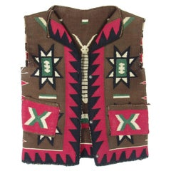 Antique Native American Germantown Wool Vest with Silver Buttons