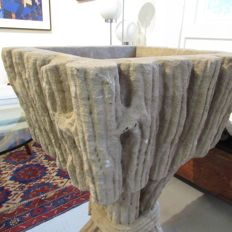Large Pair of Vintage Faux Bois Pedestal Form Cast Stone Garden Planters In Good Condition For Sale In Concord, MA