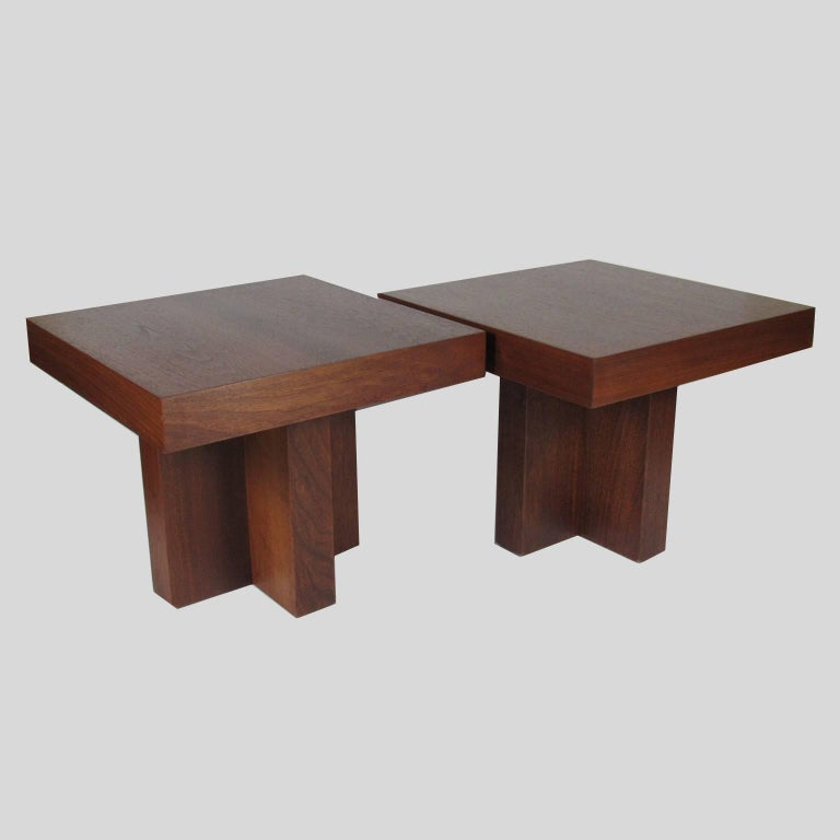 Pair of Milo Baughman Mid-Century Modern Square Side Tables 2