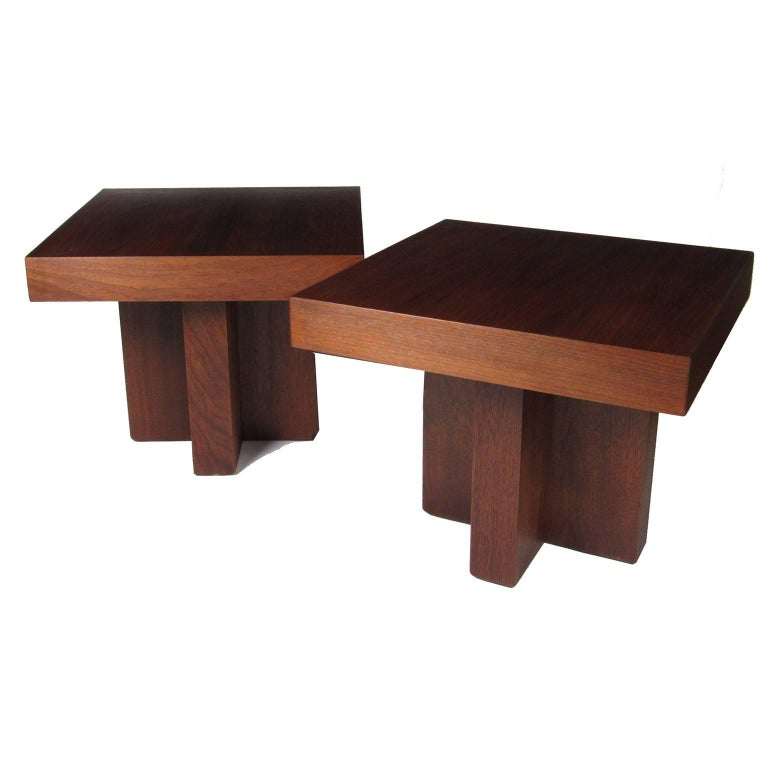 Pair of Milo Baughman Mid-Century Modern Square Side Tables 1