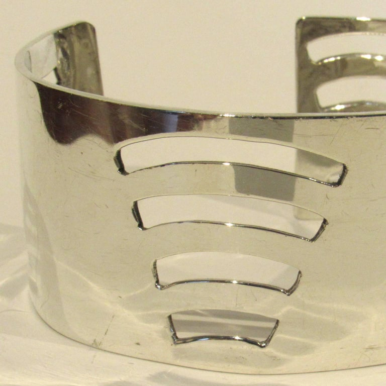 """Mid-Century Modern Mexican Sterling Silver Cuff, marked """"Mex 925"""".  Width: 1 1/4 in.,  length: 2 3/4 x 2 in.. weight: 1.84 ozt."""