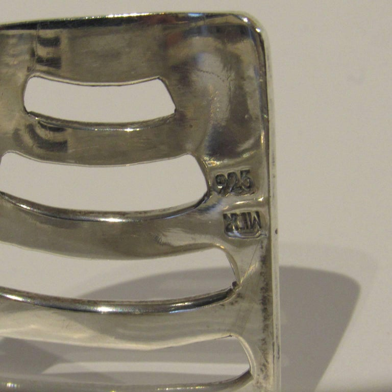 Mid-Century Modern Mexican Sterling Silver Cuff In Good Condition For Sale In Concord, MA